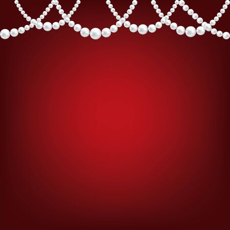 pearl necklace: White pearl necklace border on red background