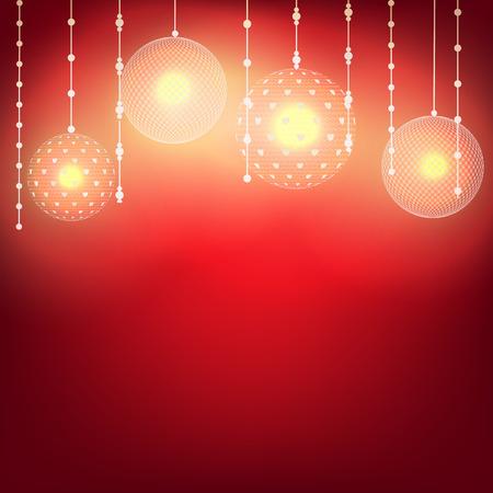 navidad elegante: bolas de encaje, guirnalda luminosa para la boda o iluminación del día de San Valentín sobre fondo rojo