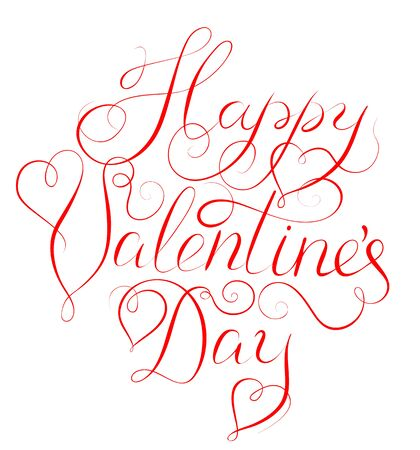 scripts: Happy Valentines Day - calligraphy lettering for Valentines day design isolated on white Illustration