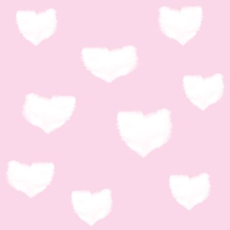 pink sky: Seamless pattern with clouds in shape of heart on pink sky for wedding or Valentine day design