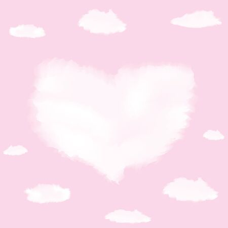 pink sky: Cloud in shape of heart on pink sky for wedding or Valentine day design Illustration