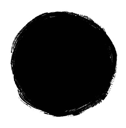 dry brush: Black spot hand drawn by ink and dry brush isolated on white. Clip art