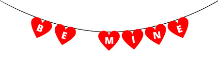 be mine: Be Mine bunting decoration for Valentines day with red hearts isolated on white