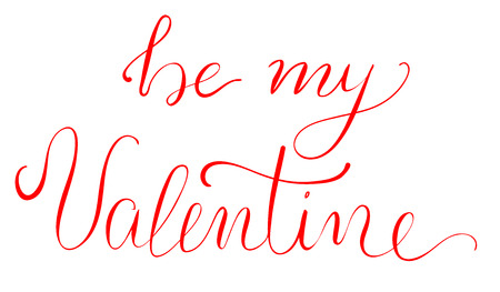 be: Be My Valentine - calligraphy lettering for Valentines day design isolated on white