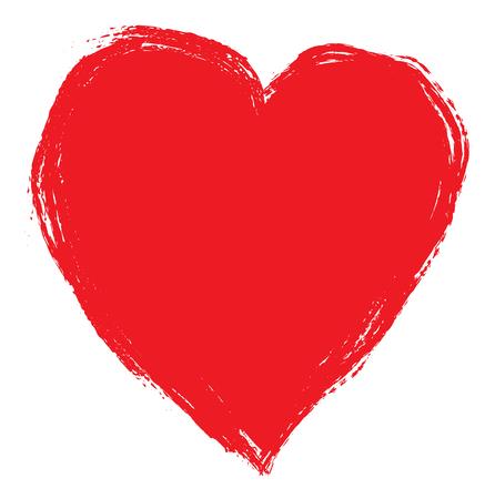 dessin coeur: Main dessin coeur rouge isolé sur blanc. Clipart