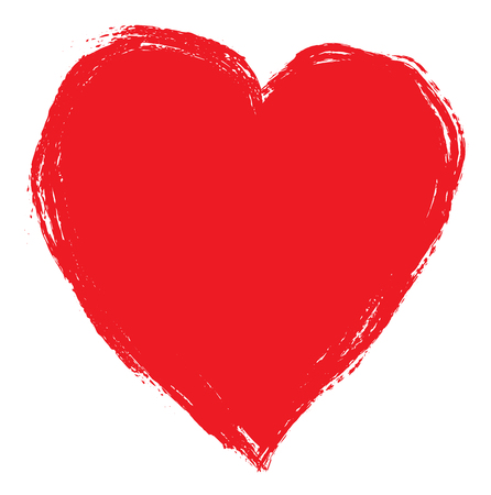 Hand drawing red heart isolated on white. Clip art