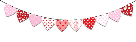 Bunting decoration for Valentines day with red hearts isolated on white