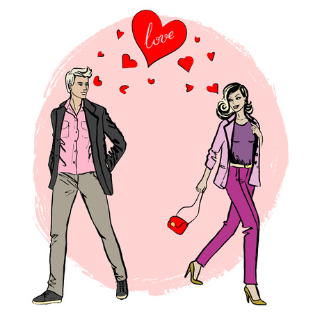 femme dessin: Femme et homme se rencontrent et tombent amoureux. Coup de foudre. Main dessin croquis Illustration