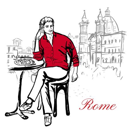 navona: Artistic hand drawn sketch of man sitting in cafe on street in Rome, Italy Illustration