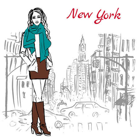 new york street: Artistic hand drawn sketch of woman staying on street in New York, USA Illustration