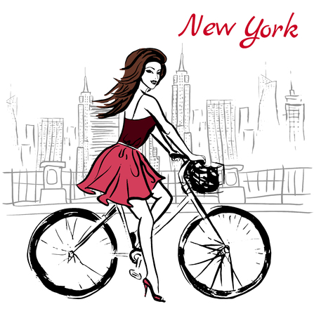 woman driving: Artistic hand drawn sketch of woman driving bicycle on street in New York, USA