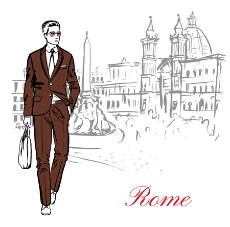 navona: Artistic hand drawn sketch of man walking in Piazza Navona in Rome, Italy