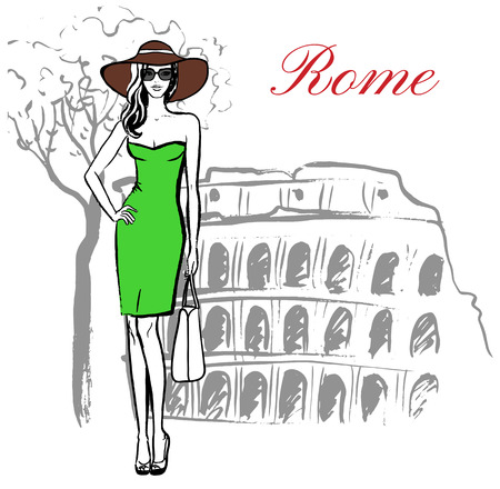 Woman staying near Colosseum in Rome, Italy. Artistic hand drawn ink sketch Vetores