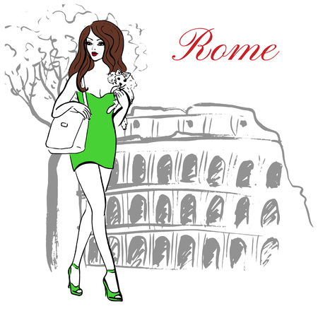 colosseum: Woman with dog in hand walking near Colosseum in Rome, Italy. Artistic hand drawn ink sketch Illustration