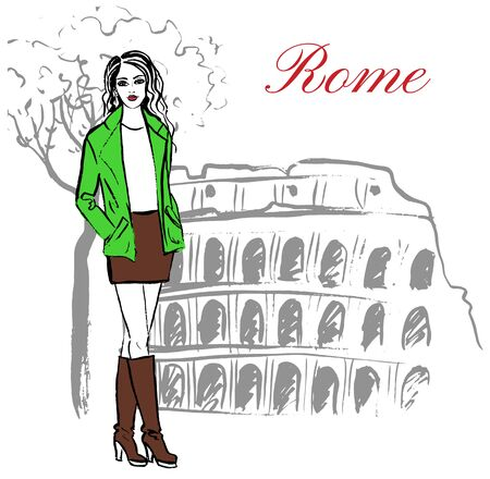 spring coat: Woman staying near Colosseum in Rome, Italy. Artistic hand drawn ink sketch Illustration