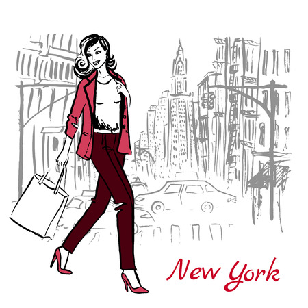 Artistic hand drawn sketch of woman walking with shopping bag on street of New York, USA
