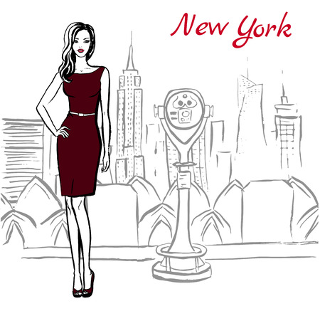 binoculars view: Artistic hand drawn sketch of woman in New York, USA