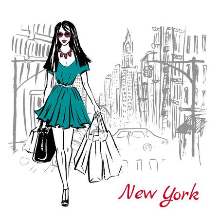 Artistieke hand getrokken schets van de vrouw lopen met boodschappentassen op straat in New York, Verenigde Staten