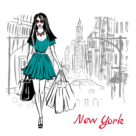 Artistic hand drawn sketch of woman walking with shopping bags on street in New York, USA Vectores