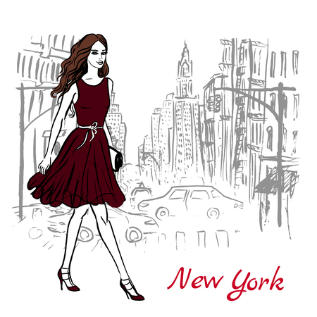 new york street: Artistic hand drawn sketch of woman walking on street in New York, USA