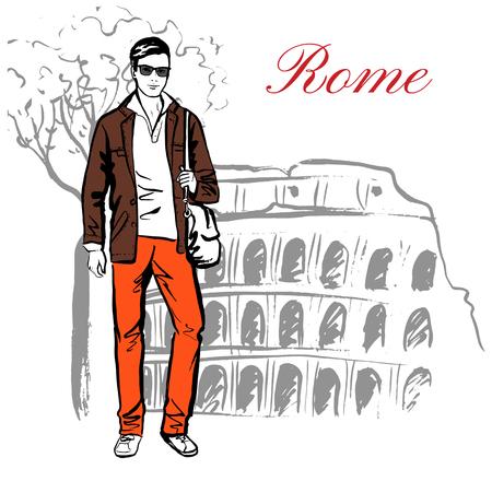 Hombre que permanece cerca de Coliseo en Roma, Italia. Artístico bosquejo de la tinta dibujado a mano