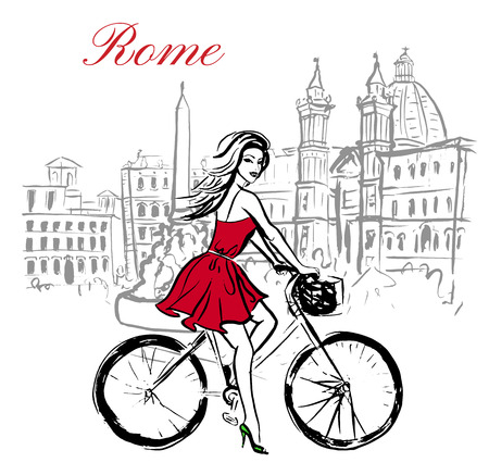 italy street: Artistic hand drawn sketch of woman driving bicycle on street in Rome, Italy