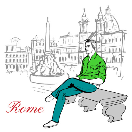 sketch drawing: Artistic hand drawn sketch of man sitting on bench in Rome, Italy