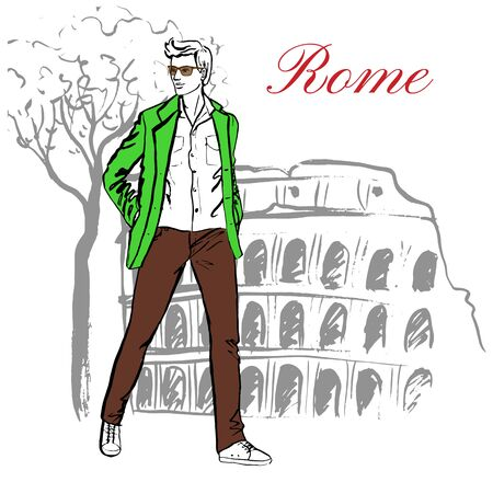 ink sketch: Man walking near Colosseum in Rome, Italy. Artistic hand drawn ink sketch Illustration