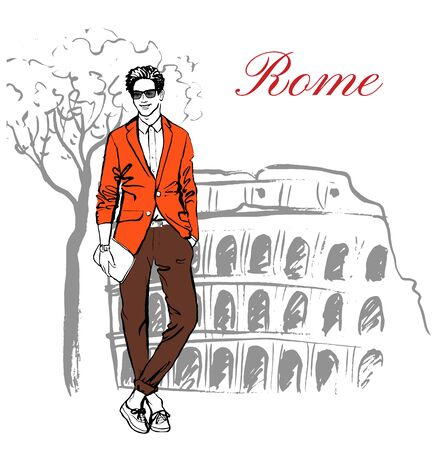 colosseum: Man staying near Colosseum in Rome, Italy. Artistic hand drawn ink sketch Illustration