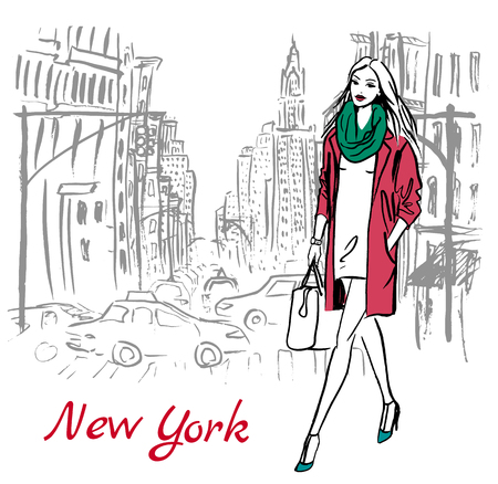 fall fashion: Artistic hand drawn sketch of woman walking on street of New York, USA Illustration
