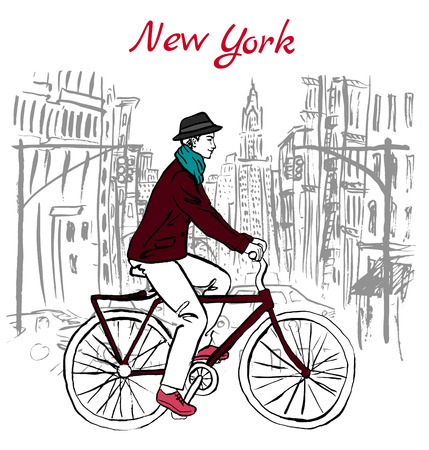 new york street: Artistic hand drawn sketch of man driving bicycle on street in New York, USA