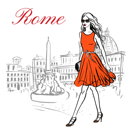 rome: Woman walking in Piazza Navona in Rome, Italy. Artistic hand drawn ink sketch Illustration