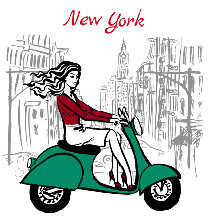 new york street: Artistic hand drawn sketch of woman driving scooter on street in New York, USA
