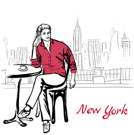 new york street: Artistic hand drawn sketch of man sitting in cafe on street in New York, USA