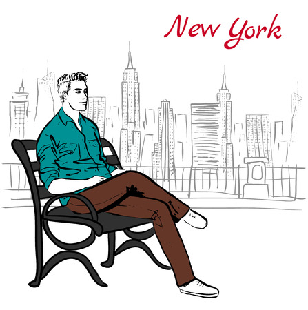 Artistic hand drawn sketch of man sitting on bench on street in New York, USA