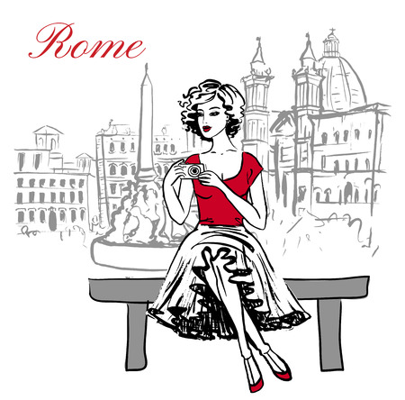 young woman sitting: Artistic hand drawn sketch of woman sitting on bench and taking a photo in Rome, Italy