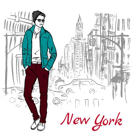 new york street: Artistic hand drawn sketch of man walking on street of New York, USA Illustration