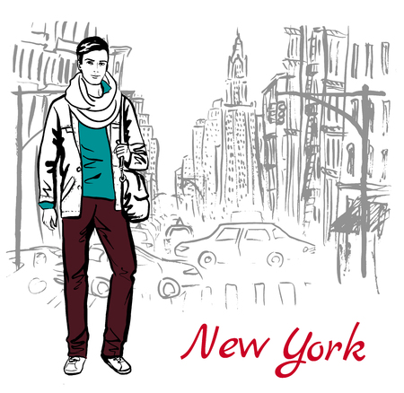 handsome young man: Artistic hand drawn sketch of man walking on street of New York, USA Illustration