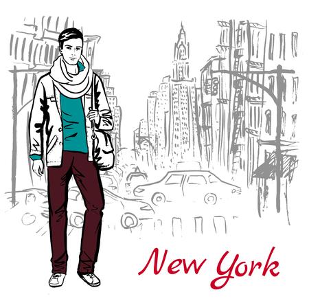 boceto dibujado a mano artístico del hombre caminando en la calle de Nueva York, EE.UU.