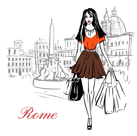 tourists: Woman walking with shopping bags in Piazza Navona in Rome, Italy. Artistic hand drawn ink sketch Illustration