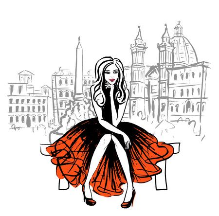 Artistico disegnato a mano schizzo di donna seduta su una panchina a Roma, Italia
