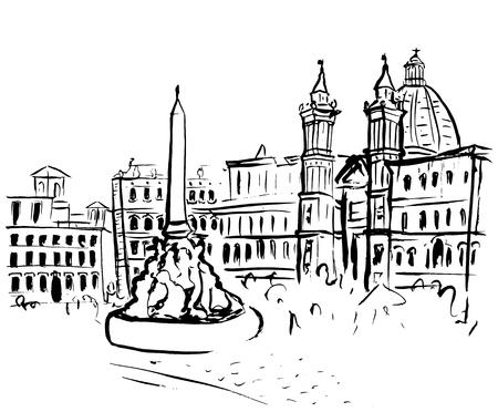 イタリア、ローマのナヴォーナ広場の手描画されたインク スケッチ。白い背景に分離されたクリップ アート イラスト