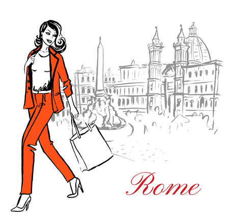 Woman walking in Piazza Navona in Rome, Italy. Artistic hand drawn ink sketch Illustration