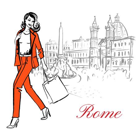 chicas de compras: Mujer que camina en la Piazza Navona en Roma, Italia. Artístico bosquejo de la tinta dibujado a mano Vectores