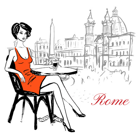 navona: Artistic hand drawn sketch of woman sitting in cafe on Piazza Navona in Rome, Italy