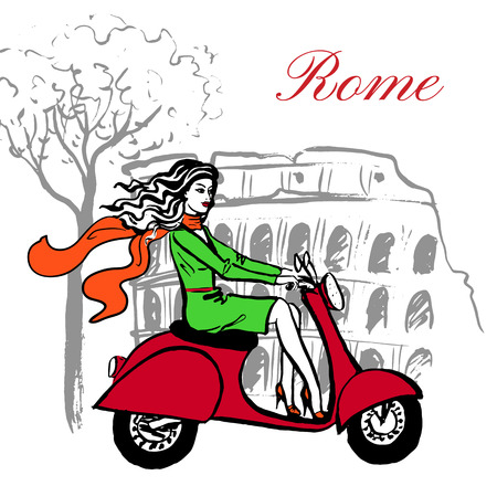 Artistic hand drawn sketch of woman driving scooter near Colosseum in Rome, Italy