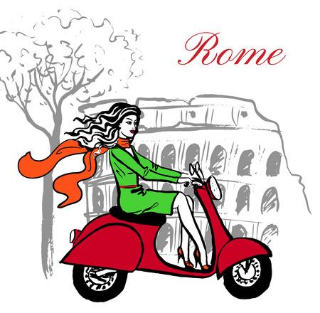 boceto dibujado a mano artística de scooter de conducción de mujer cerca de Coliseo en Roma, Italia