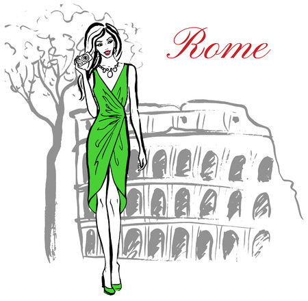 staying: Woman staying near Colosseum in Rome, Italy Illustration