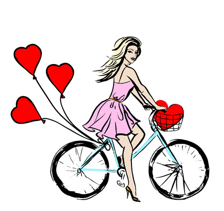 girl in red dress: Woman driving bike with balloons in shape of hearts. Hand drawing sketch for Valentines day design