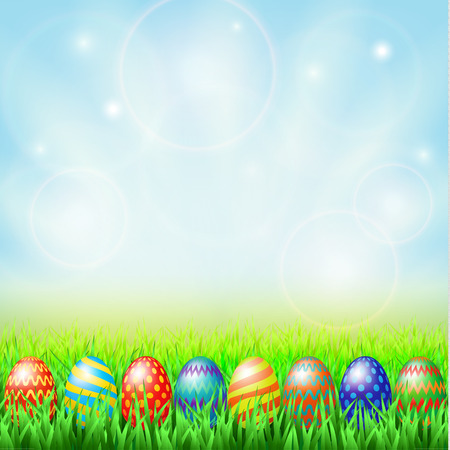 cartoon egg: Easter eggs, green sunny meadow and blue sky Illustration